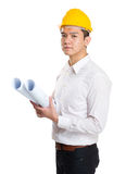 Engineer holding layout drawing Stock Image