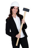 Engineer holding a mallet Royalty Free Stock Image