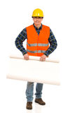 Engineer holds open paper roll. Stock Image