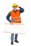 Engineer holds open paper roll. Royalty Free Stock Images