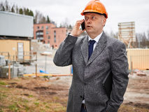 Engineer and house construction site Royalty Free Stock Photography