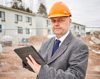 Engineer and house construction site Stock Photo