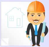 Engineer with house project Royalty Free Stock Image
