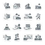 Engineer icon black. Engineer construction equipment machine operator production and manufacturing icons black set isolated vector illustration Stock Photography