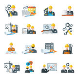 Engineer icon flat. Engineer construction equipment machine operator managing and manufacturing icons flat set isolated vector illustration stock illustration