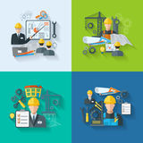 Engineer icon flat set Stock Photography