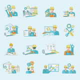 Engineer icon line. Engineer construction equipment industrial process production and manufacturing icons line set isolated vector illustration Stock Photography