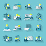 Engineer icon set. Engineer construction equipment industrial technician workers with fixing tools and gears icons set isolated vector illustration Stock Image