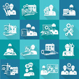 Engineer icon white. Engineer construction equipment technician workers with fixing tools and gears icons white set isolated vector illustration Stock Image