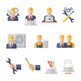 Engineer icons. Engineer construction equipment machine operator managing and manufacturing icons flat set isolated vector illustration royalty free illustration