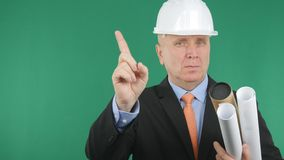 Engineer Image Warning Make No Hand Gestures with Green Screen in Background.  royalty free stock image