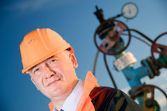 Engineer In An Oil Field Royalty Free Stock Photography