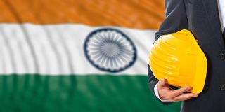 Engineer on an India flag background. 3d illustration. Engineer on a waiving India flag background. 3d illustration Royalty Free Stock Photography