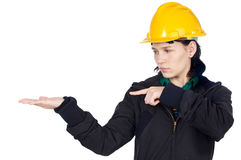 Engineer indicating a hand Royalty Free Stock Photos