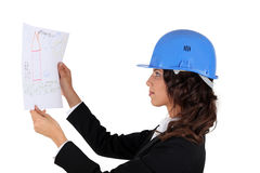 An engineer inspecting drawing Stock Photo