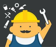 Engineer with instrument in construction helmet. Builder, engineer with instrument in construction helmet, funny Royalty Free Stock Photo