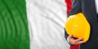 Engineer on an Italy flag background. 3d illustration. Engineer on a waiving Italy flag background. 3d illustration Stock Photography