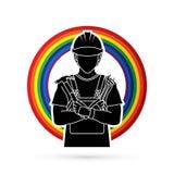 Engineer labor cartoon graphic vector. Engineer labor cartoon illustration graphic vector Stock Images