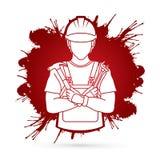 Engineer labor cartoon graphic vector. Engineer labor cartoon illustration graphic vector Royalty Free Stock Photography