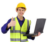 Engineer with a laptop Stock Image