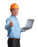 Engineer with laptop computer Royalty Free Stock Photography