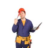 Engineer with laptop hands hammer. Royalty Free Stock Images