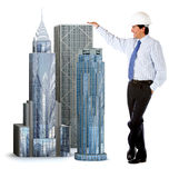 Engineer leaning on buildings Stock Image