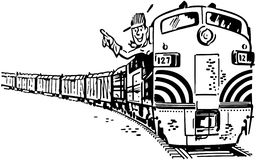 Engineer In Locomotive Stock Photo