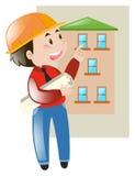 Engineer looking at blueprint of building. Illustration stock illustration