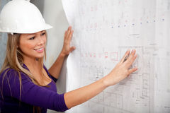 Engineer looking at blueprints Stock Photos