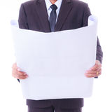 Engineer looking construction diagram Royalty Free Stock Images
