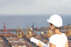 Engineer looks at port Royalty Free Stock Images