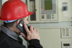 Engineer  make call in power plant Stock Image