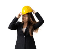 Engineer makes safety gesture wearing safety hemet Royalty Free Stock Images