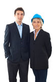 Engineer man and architect woman royalty free stock photo