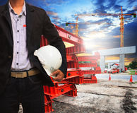 Engineer man with safety helmet working in road and bridge const Stock Images