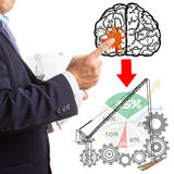 Engineer Manager Plan and control project. With touch brain Stock Photo