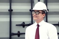 Engineer Manager with safety hat is working at site work Stock Photos
