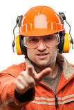 Engineer or manual worker man in safety hardhat helmet white iso. Construction building engineer or manual worker man in safety hardhat helmet finger pointing Stock Photos