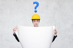 Engineer with many questions Royalty Free Stock Photos
