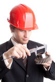 Engineer Measure A Gear Royalty Free Stock Photography