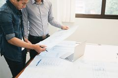 Engineer meeting for architectural project. royalty free stock images