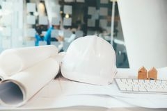 Engineer meeting for architectural project working with partner. Image of engineer meeting for architectural project working with partner and engineering tools Stock Images