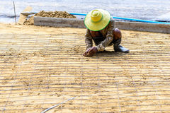 Engineer meshing rebar for flooring with cement Royalty Free Stock Image