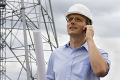 Engineer with mobile phone Royalty Free Stock Photography