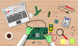 Engineer with multimeter check electronic board. Hands of engineer with digital multimeter check computer electronic circuit board. PC hardware. Components for stock illustration