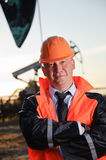 Engineer in an Oil field Stock Image
