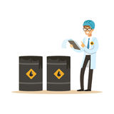 Engineer of oil industry controlling the process of oil production vector illustration. On a white background vector illustration