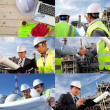 Engineer oil refinery collage. Engineer oil refinery on location site collage Royalty Free Stock Photos