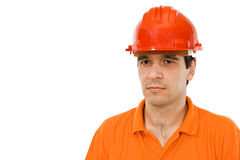 Engineer in orange shirt Royalty Free Stock Image